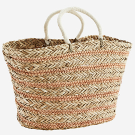 STRIPED STRAW BAG W/ HANDLES