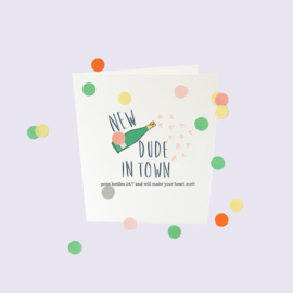 CONFETTI CARD BABY 'NEW DUDE IN TOWN' - THE GIFT LABEL