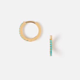 MINI TURQUOISE PAVE HUGGIE HOOP EARRINGS - ORELIA