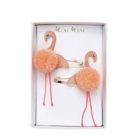 FLAMINGO POMPOM HAIR CLIPS  - MERI MERI