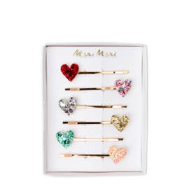 GLITTER HEART HAIR CLIPS  - MERI MERI
