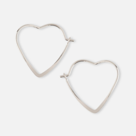 SMALL HEART HOOP EARRING SILVER - ORELIA