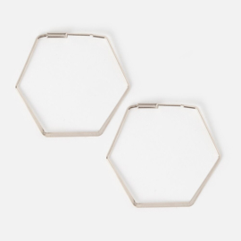 HEXAGON HOOP EARRING SILVER - ORELIA
