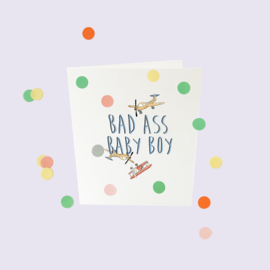 CONFETTI CARD BABY 'BAD ASS BABY BOY' - THE GIFT LABEL