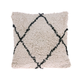 COTTON DIAMOND CUSHION CREAM/ BLACK 50 x 50