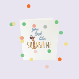 CONFETTI CARD BABY 'YOU LOOK LIKE SUNSHINE' - THE GIFT LABEL