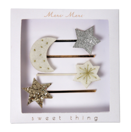 MOON AND STARS HAIR SLIDES - MERI MERI