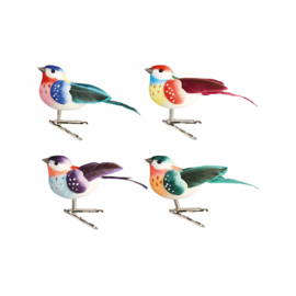 COLOURED BIRDS ON CLIP SET OF 4 - &KLEVERING