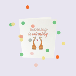 CONFETTI CARD BABY 'TWINNING IS WINNING' - THE GIFT LABEL