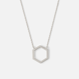 CUTOUT HEXAGON CHARM NECKLACE - SILVER