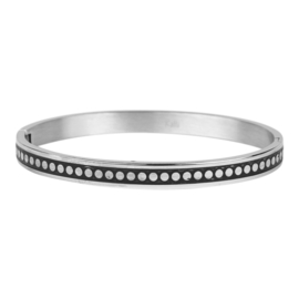 BANGLE 6MM ZWART ZILVER - KALLIKALLI