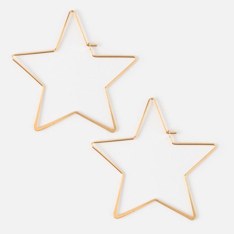 HEXAGON STAR HOOP EARRING GOLD - ORELIA