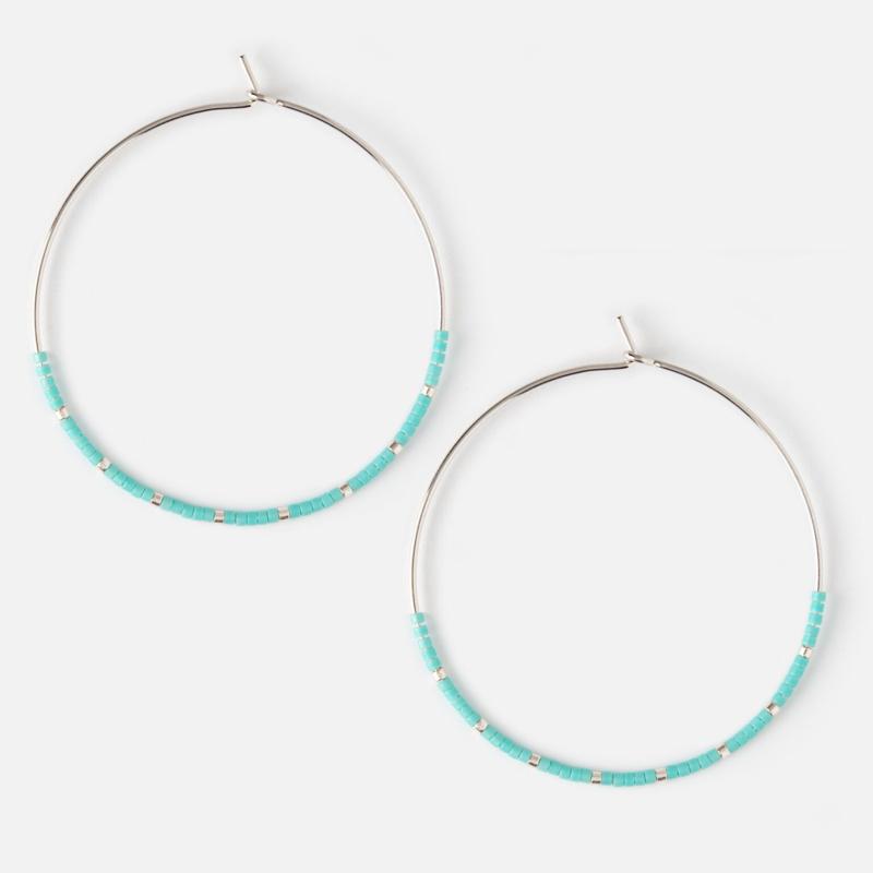HEXAGON HOOP EARRING BLUE SILVER - ORELIA