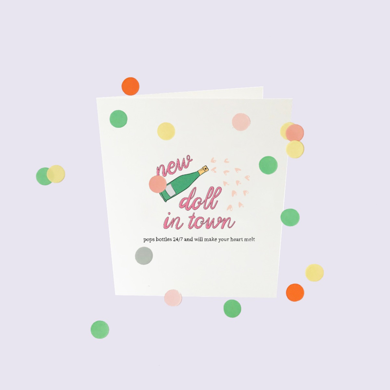 CONFETTI CARD BABY 'NEW DOLL IN TOWN' - THE GIFT LABEL