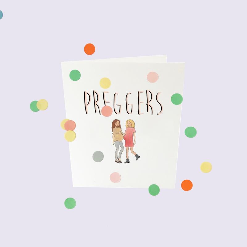 CONFETTI CARD BABY 'PREGGERS' - THE GIFT LABEL