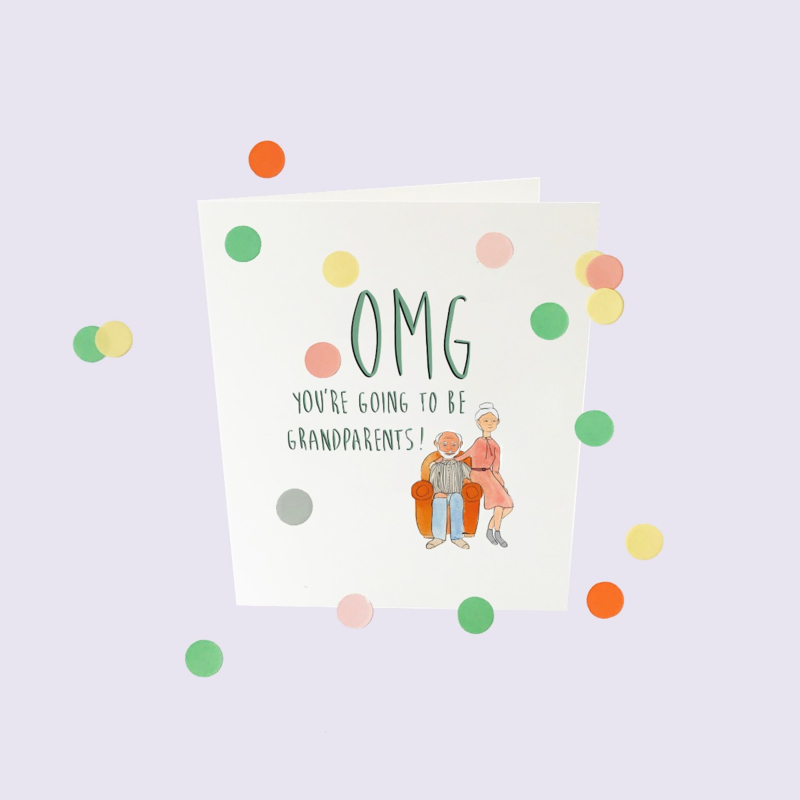 CONFETTI CARD BABY 'OMG YOU WILL BECOME GRANDPARENTS' - THE GIFT LABEL