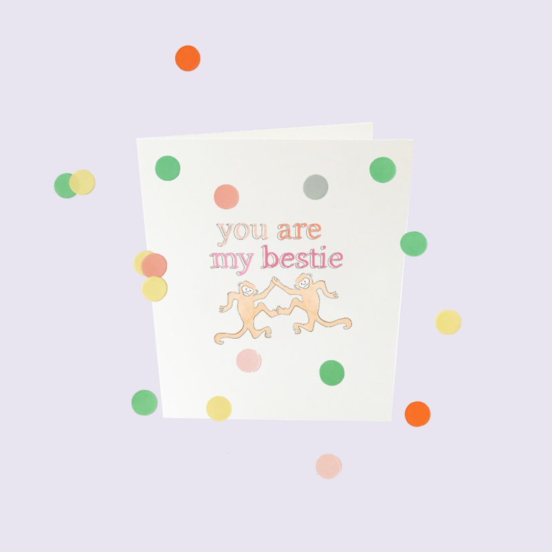 CONFETTI CARD BABY 'YOU ARE MY BESTIE' - THE GIFT LABEL