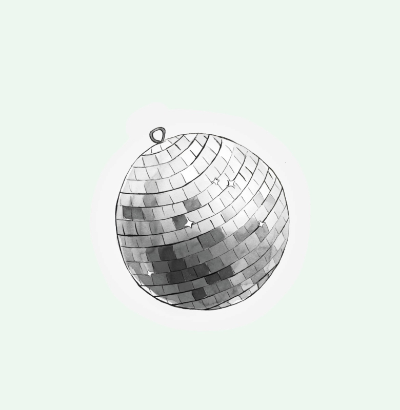 CUT OUT CARD DISCO BALL - THE GIFT LABEL