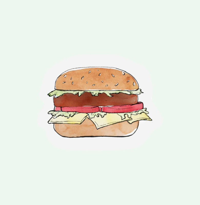 CUT OUT CARD HAMBURGER - THE GIFT LABEL