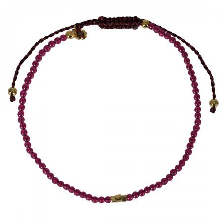 MINI ROCKS PULL BRACELET SPINEL RUBY FINE - PIMPS AND PEARLS