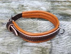 Honden halsband donkerbruin-cognac