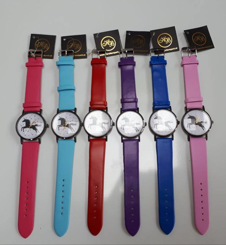 Horloge Unicorn kobalt blauw