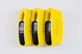 Naaldcontainer compacte reisuitvoering, per 3 stuks. Geel/zwart.