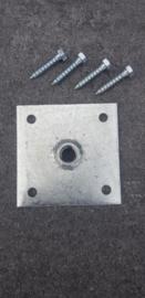 Bevestigingsplaat Galvanisch verzinkt  10,5x10,5 cm m16