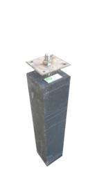 Betonpoer 12x12 antraciet  met RVS bevestigingsplaat