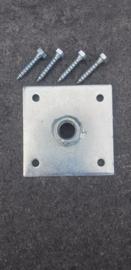 Bevestigingsplaat  Galvanisch verzinkt 10,5x10,5 cm m20