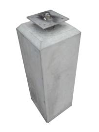 Betonpoer 12x12 Grijs met velling en RVS bevestigingsplaat