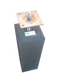 Betonpoer 15x15  Antraciet  met velling en RVS bevestigingsplaat