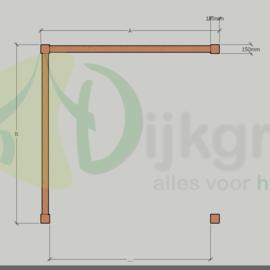 Veranda DeLuxe Douglas maatwerk max. 300x300 cm met zijwanden.