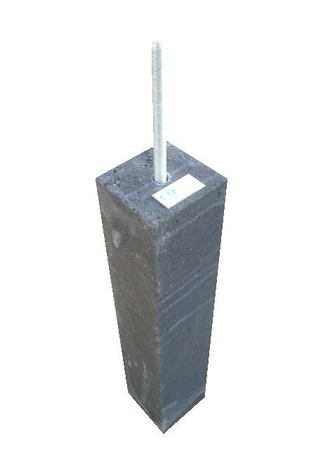 Beste Betonpoer antraciet met draadeind | Poeren voor palen 15x15cm CQ-03