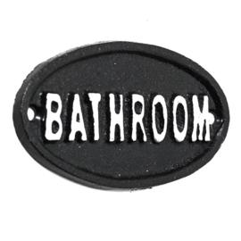 Metalen bordje. Bathroom