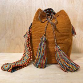 Mosterkleurige Wayuu bag, L
