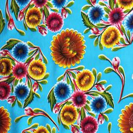 Mexicaans tafelzeil Floral blauw