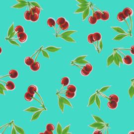 Tafelzeil kers - turquoise