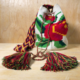 Wayuu bag rose white L.