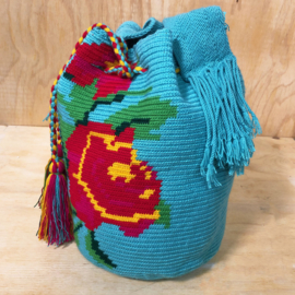 Wayuu bag Rose turquoise.
