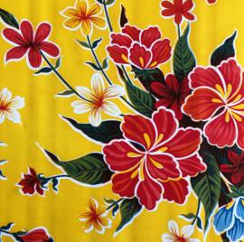 Mexicaans tafelzeil bloemen op geel