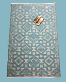 Plastic vloermat Azteek crème turquoise | 120 x 180 cm