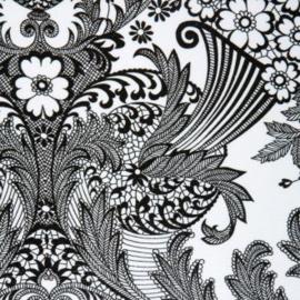 Tafelzeil paisley wit