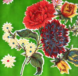 Mexicaans tafelzeil, bloemrijk op groen