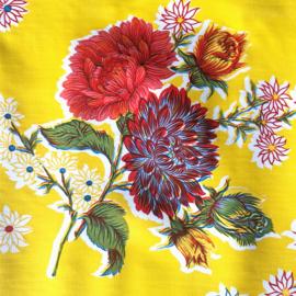 Plastic tafelzeil bloemrijk op geel