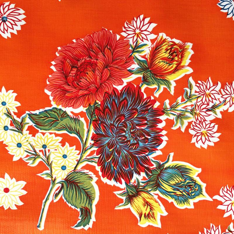 Plastic tafelzeil, wilde bloemen op oranje