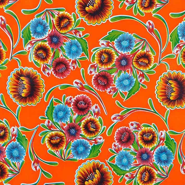 Tafelzeil Floral - oranje