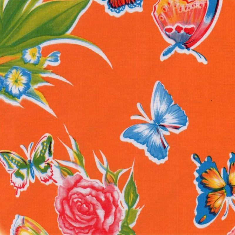 Mexicaans tafelzeil vlinderrijk op oranje
