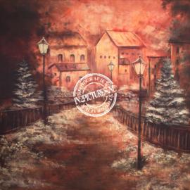Winterachtergrond in Anton Pieck sfeer