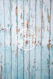 Stoere blauwe houten wand